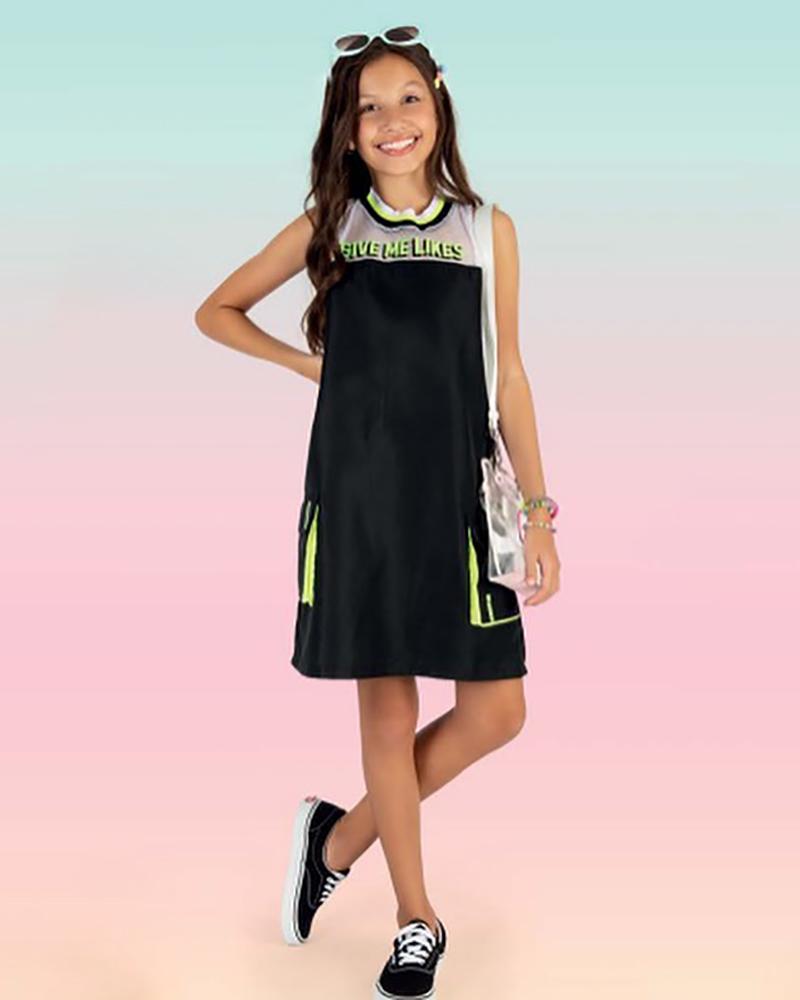 Vestido Menina Fruto Tactel Preto e Limão 42662031