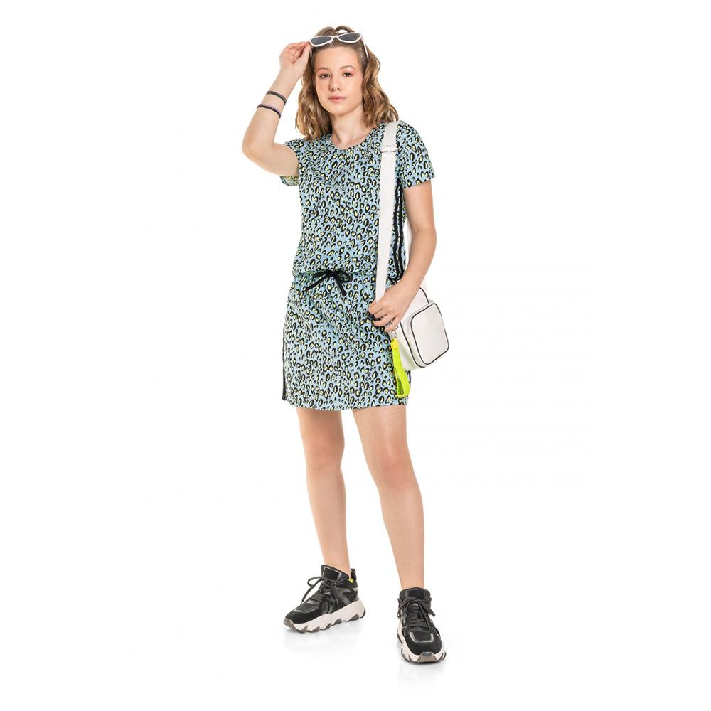 Vestido Menina Gloss Oncinha Azul e Verde 31145