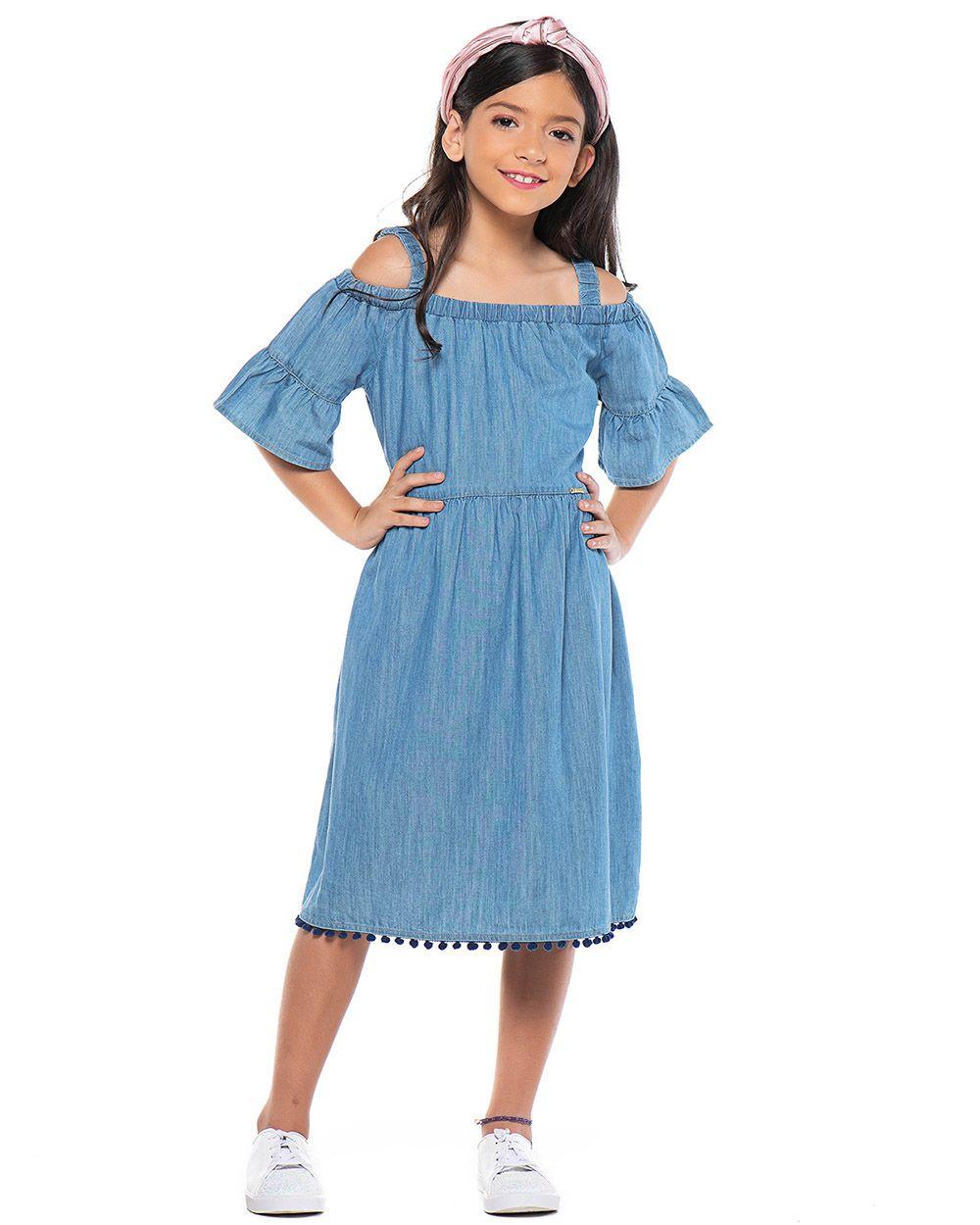 Vestido Menina Mania Kids Jeans Claro 60917
