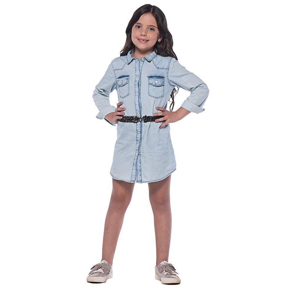 Vestido Menina Mania Kids Jeans com Cinto Preto 60760