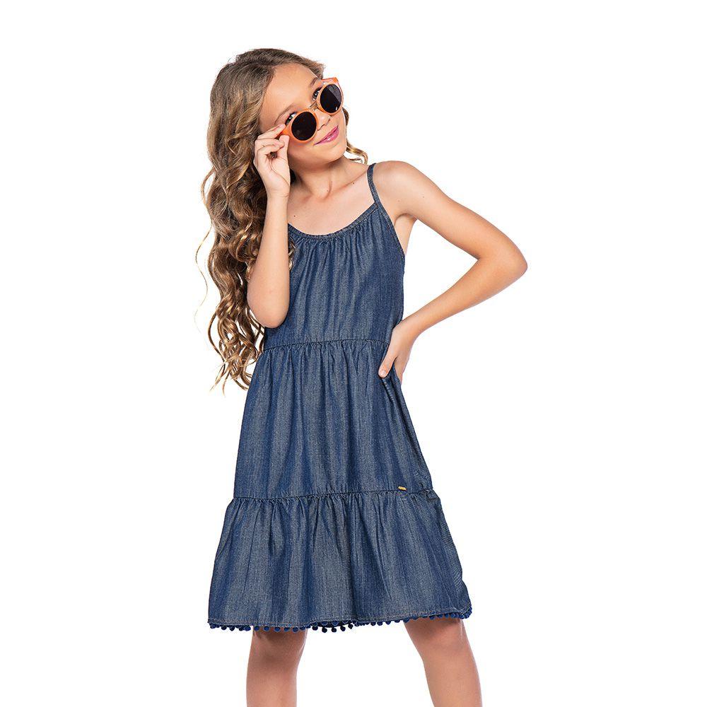 Vestido Menina Mania Kids Jeans com Pompom 60881