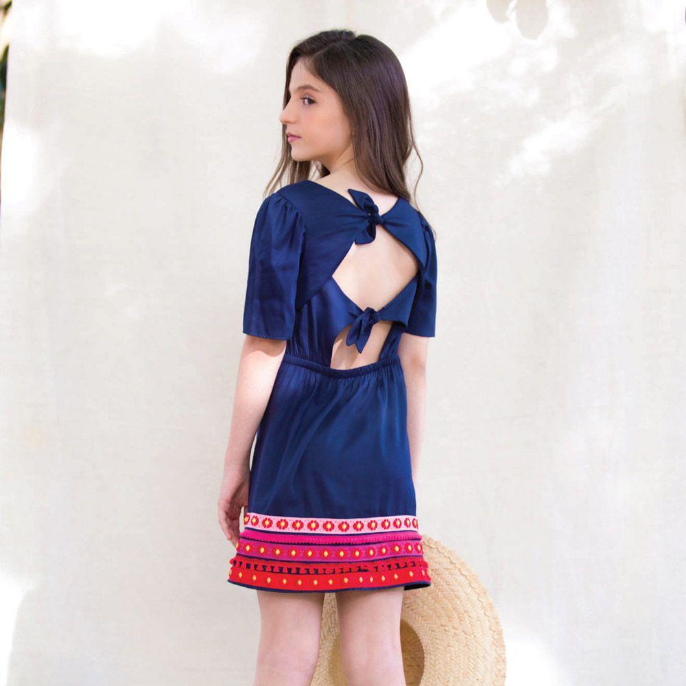 Vestido Menina Precoce Azul Marinho com Manga Bufante e Barrado 2124