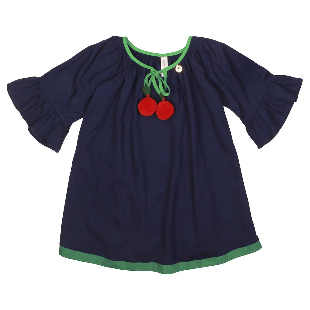 Vestido Menina Precoce Barrado Azul Marinho com Cerejas 2031