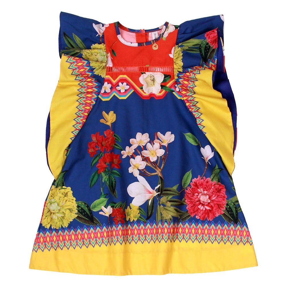 Vestido Menina Precoce Barrado Jardim Azul e Laranja 1703