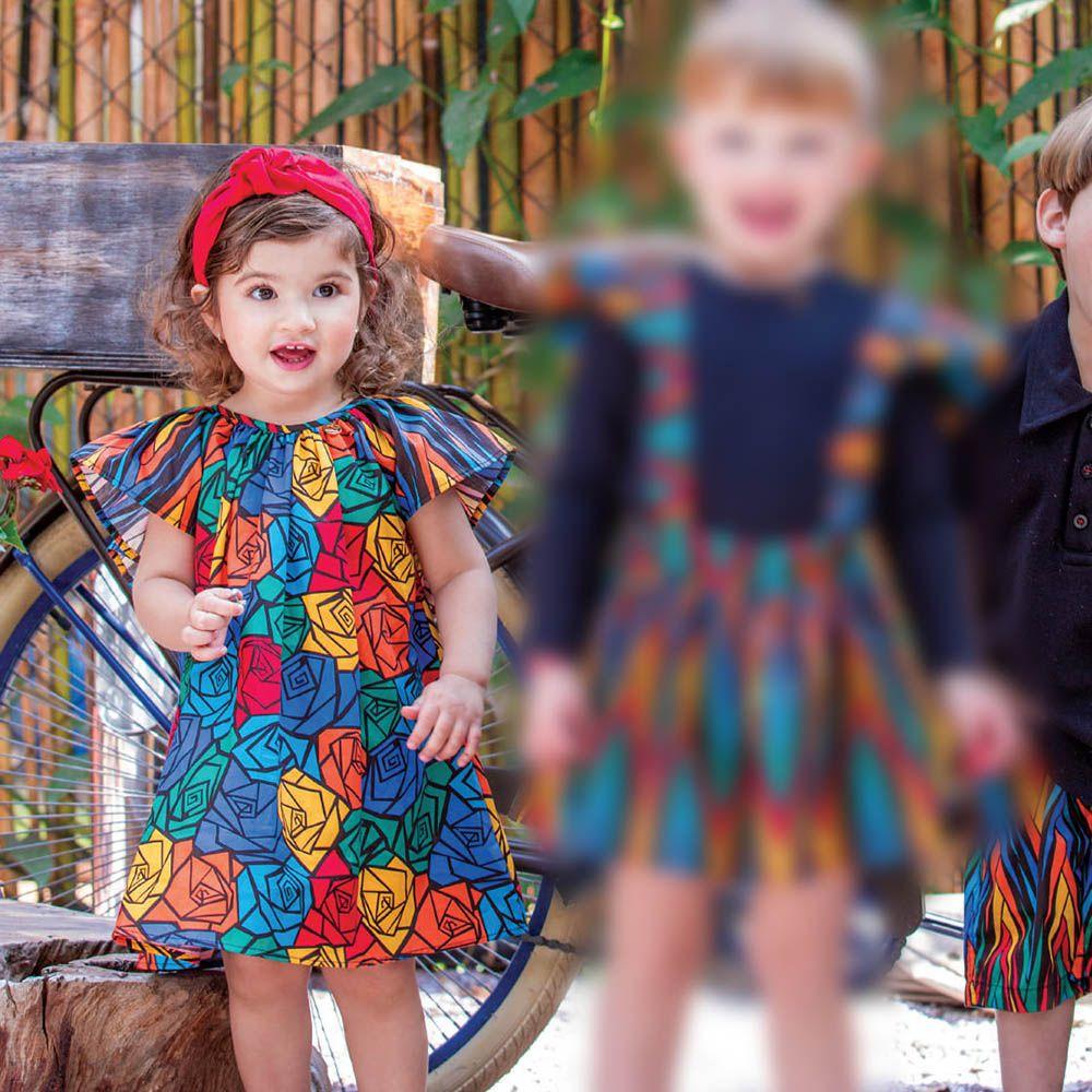 Vestido Menina Precoce Floral e Composê 2032