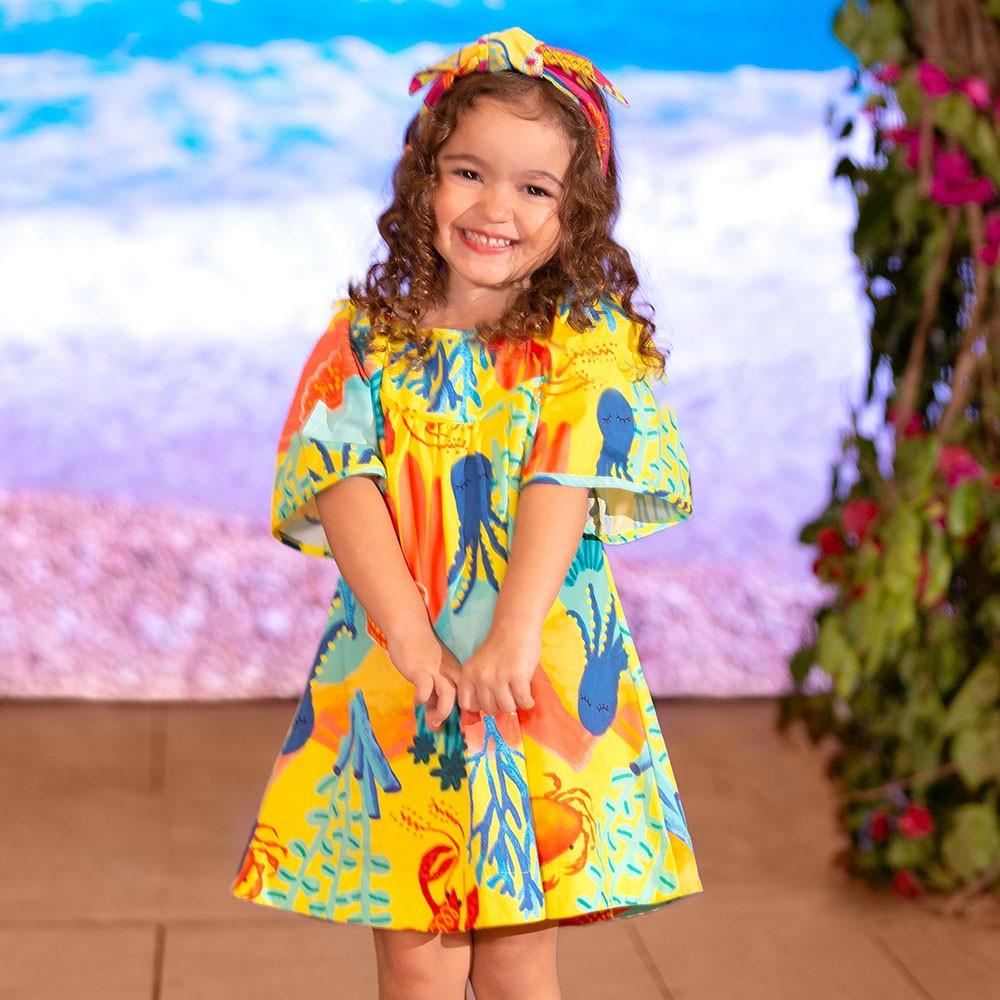 Vestido Precoce Fundo Do Mar Amarelo 2440