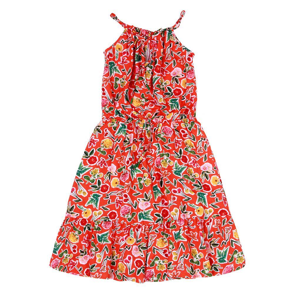 Vestido Menina Precoce Laranja Floral Mini 1731
