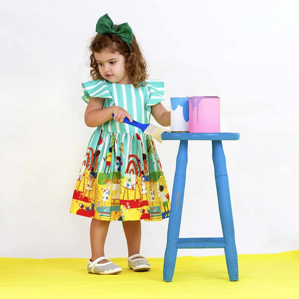 Vestido Menina Precoce Listras Verde Pequenos Artistas 2255