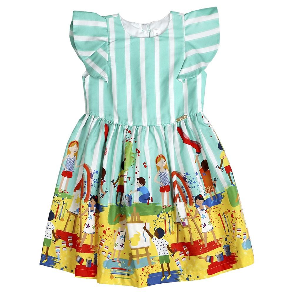 Vestido Precoce Listras Verde Pequenos Artistas 2255