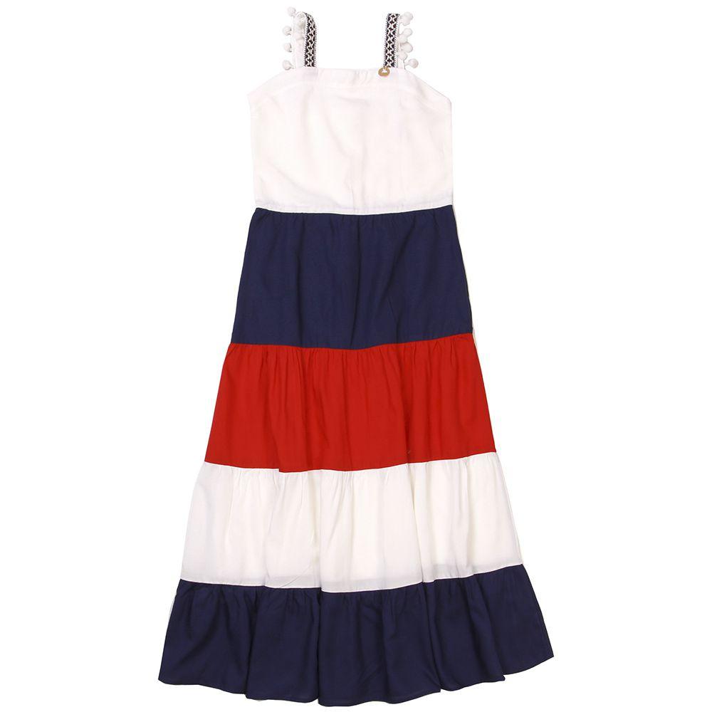 Vestido Menina Precoce Longo Off White Vermelho e Azul 1874