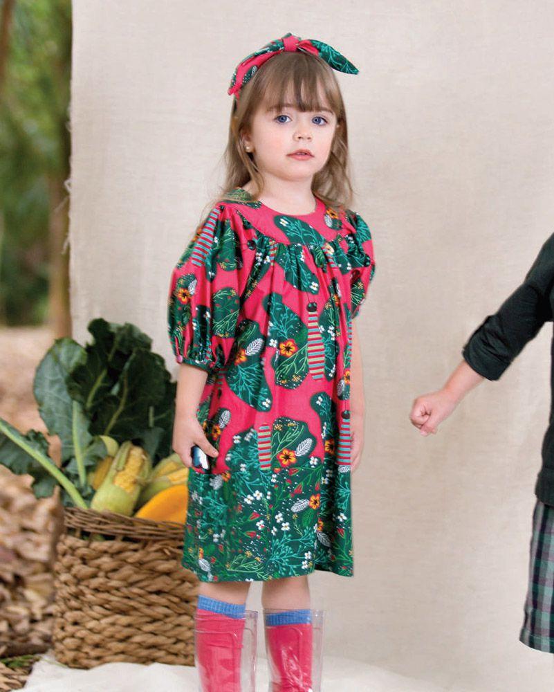 Vestido Menina Precoce Manga Bufante Borboleta 2043