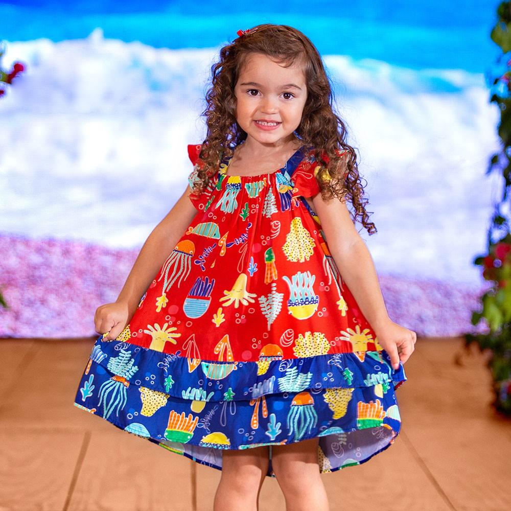 Vestido Menina Precoce Marisco Vermelho 2432