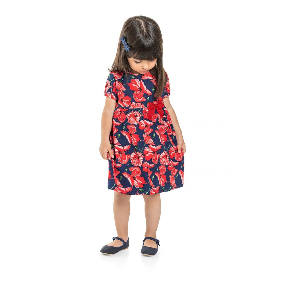 Vestido Menina Quimby Floral Azul Marinho e Vermelho 28548