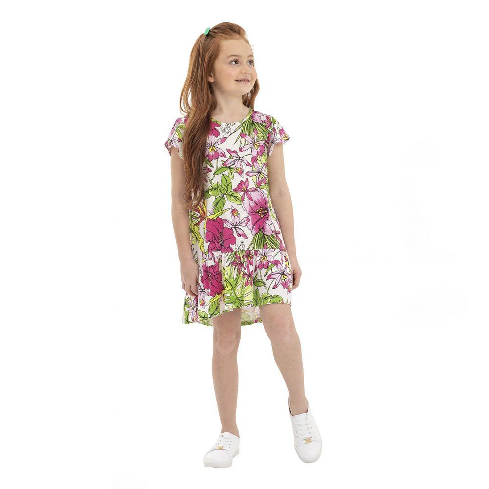 Vestido Menina Quimby Floral Fundo Branco 28096