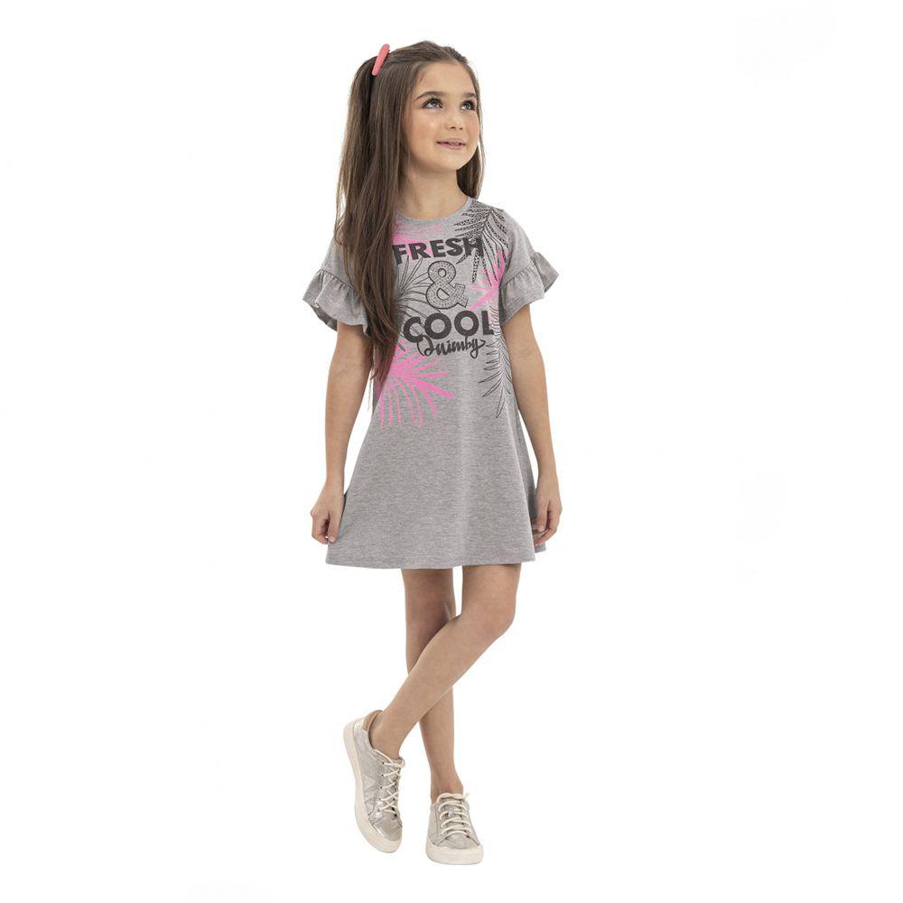 Vestido Menina Quimby Fresh e Cool Cinza 28121