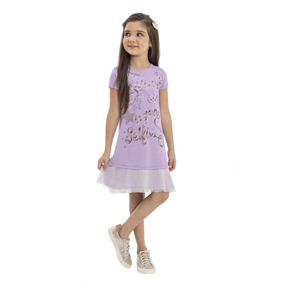Vestido Menina Quimby Lilás Malha e Tule Unicórnio 28099