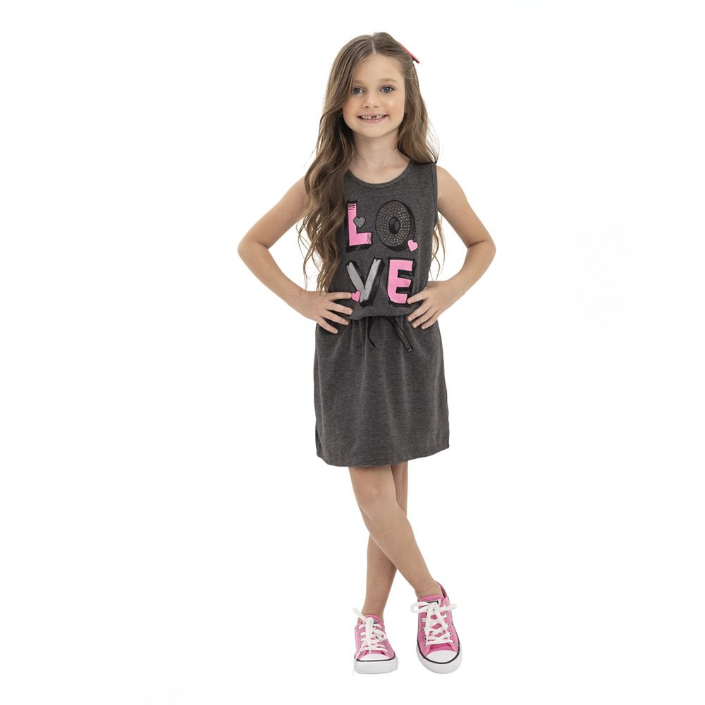 Vestido Menina Quimby Love Malha Trabalhada Cinza 28112