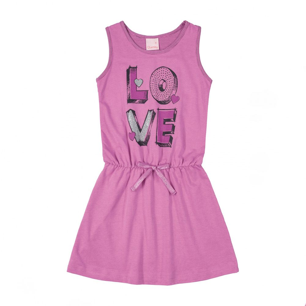 Vestido Menina Quimby Love Malha Trabalhada Lilás 28112