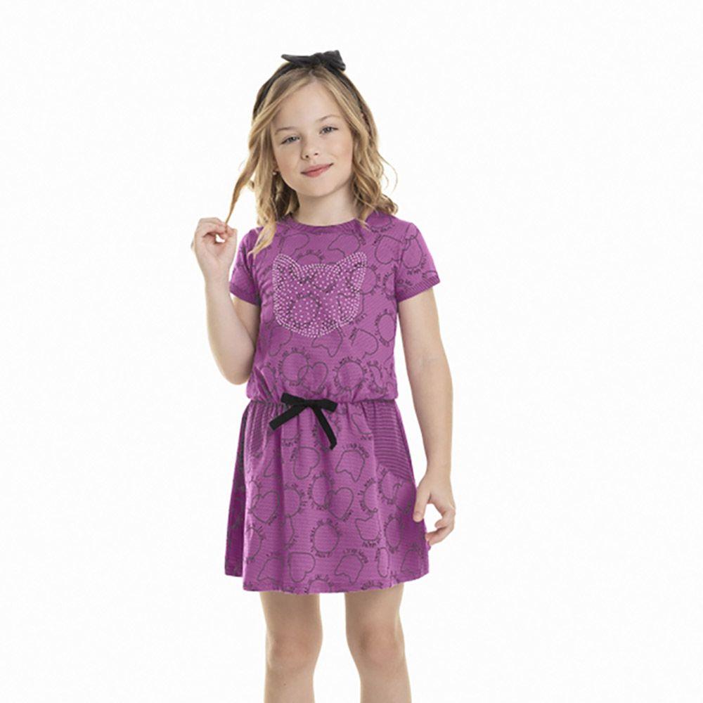 Vestido Menina Quimby Malha Trabalhada Gato 28069