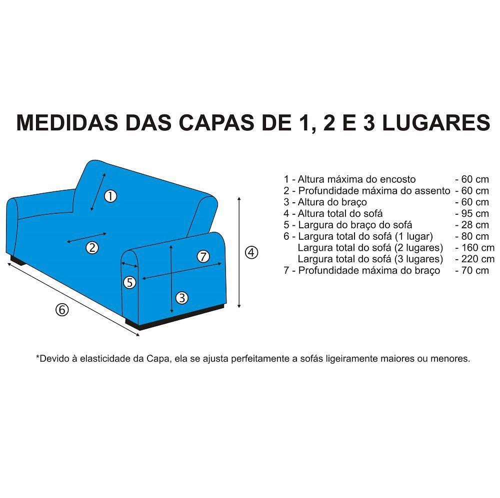 Capa de Sofá Avulsa 3 Lugares em Malha Dupla - Azul Marinho