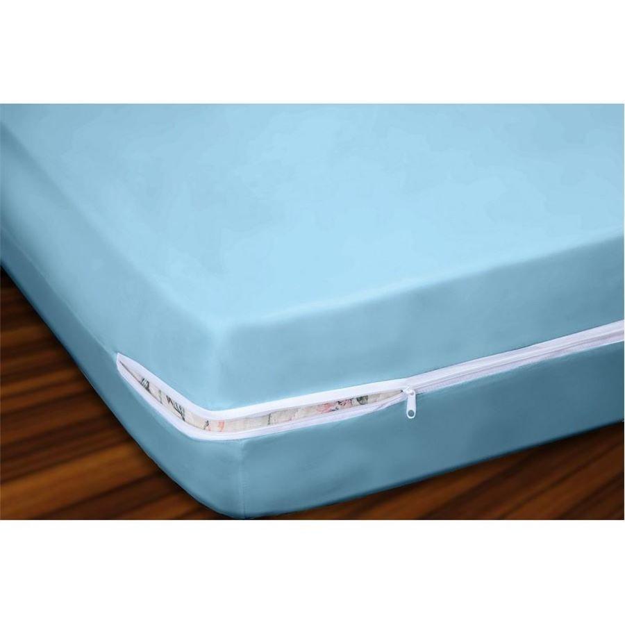 Capa para Colchão Casal em Malha 100% Algodão com Ziper 20 cm Altura - Azul