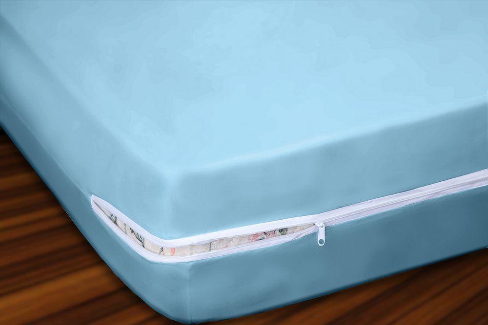 Capa para Colchão Casal em Malha 100% Algodão com Ziper 30 cm Altura - Azul