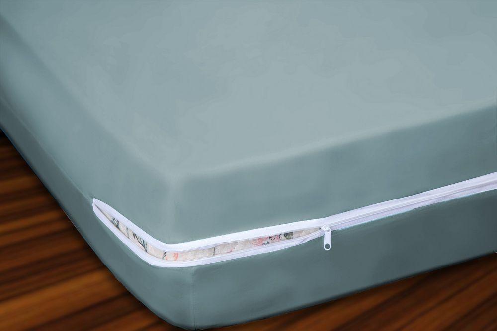 Capa para Colchão Solteiro em Malha 100% Algodão com Ziper 20 cm Altura - Cinza