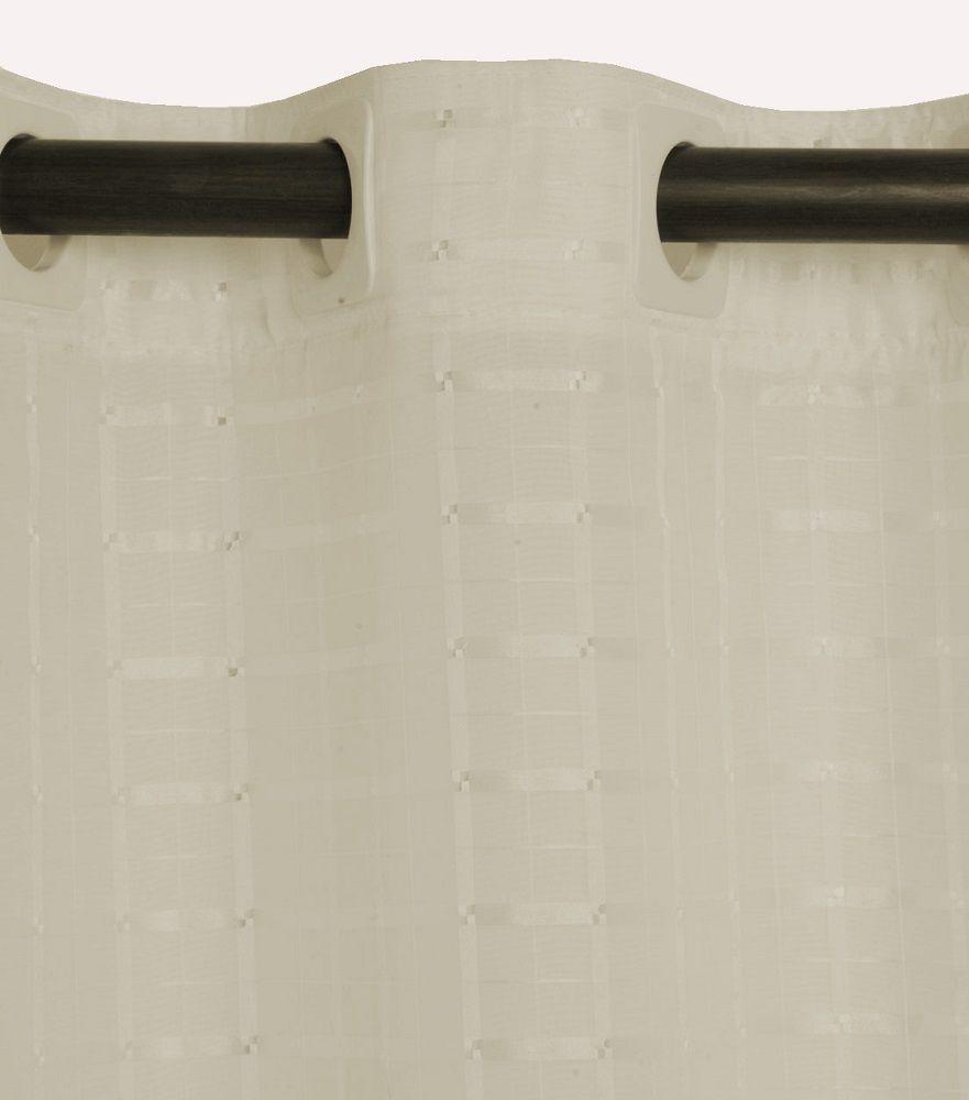 Cortina para Cozinha 2,00 x 1,20m Lile em Voil Xadrez com Forro - Marfim