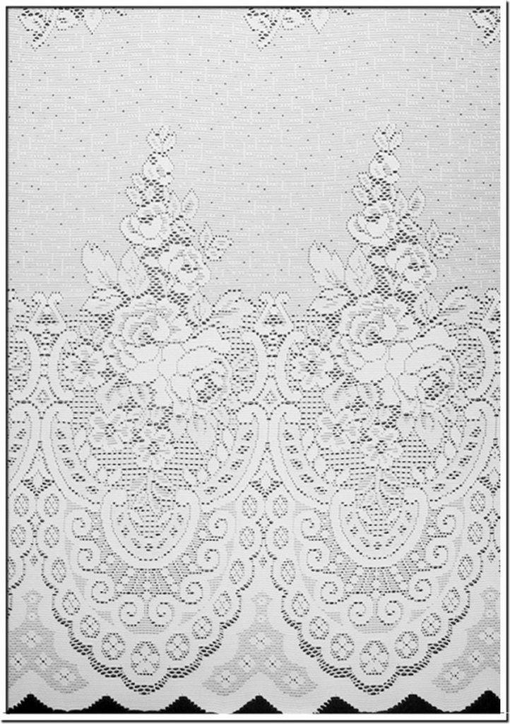 Cortina para trilho Tradicional 3,00 x 2,40m Violeta em Renda e Voil - Branca
