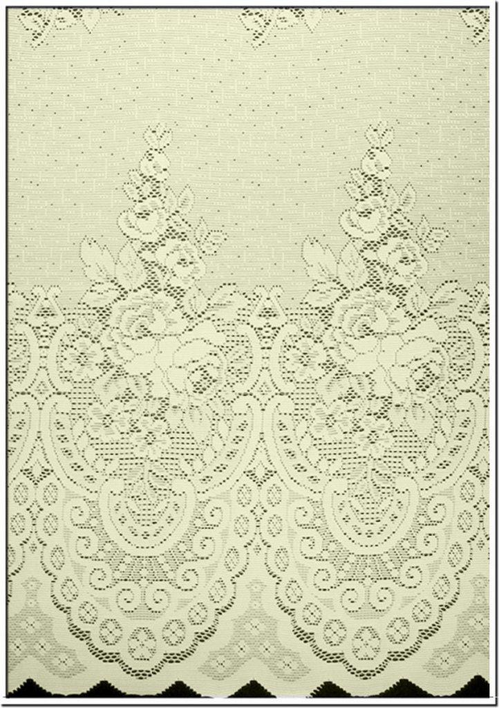 Cortina para trilho 3,00 x 2,40m Violeta em Renda e Voil - Marfim