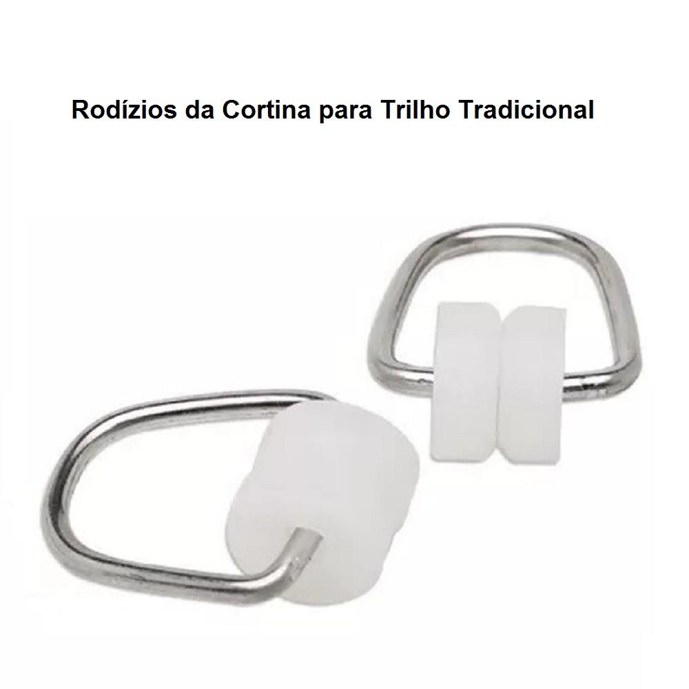 Cortina para trilho Tradicional 4,00 x 2,40m Violeta em Renda e Voil - Marfim