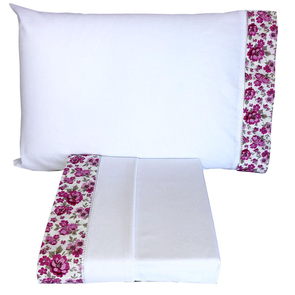 Jogo de Cama Casal Percal 150 fios 100% Algodão Ponto Palito 4 peças - Floral Pink/Branco