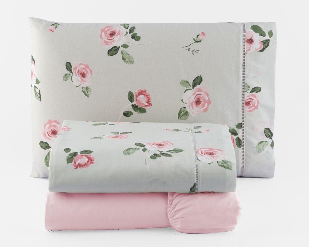 Jogo de Cama Casal Percal 150 fios 100% Algodão Ponto Palito 4 peças - Floral Rosa