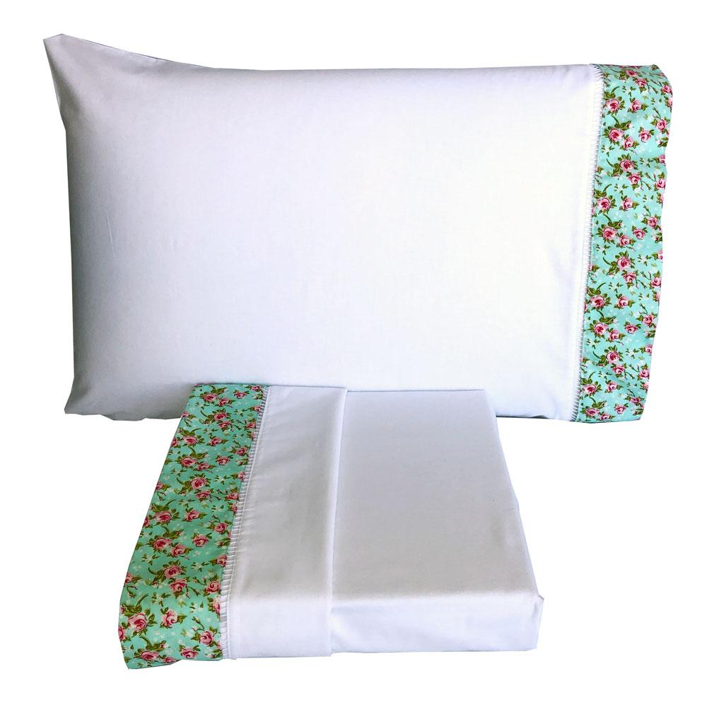Jogo de Cama Casal Percal 150 fios 100% Algodão Ponto Palito 4 peças - Floral Rosa/Branco