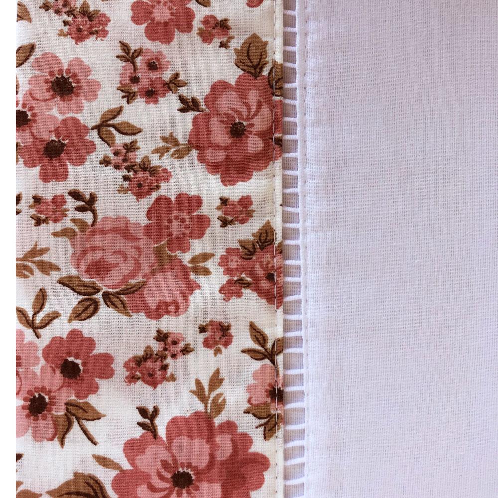 Jogo de Cama Casal Percal 150 fios 100% Algodão Ponto Palito 4 peças - Floral Rosê/Branco