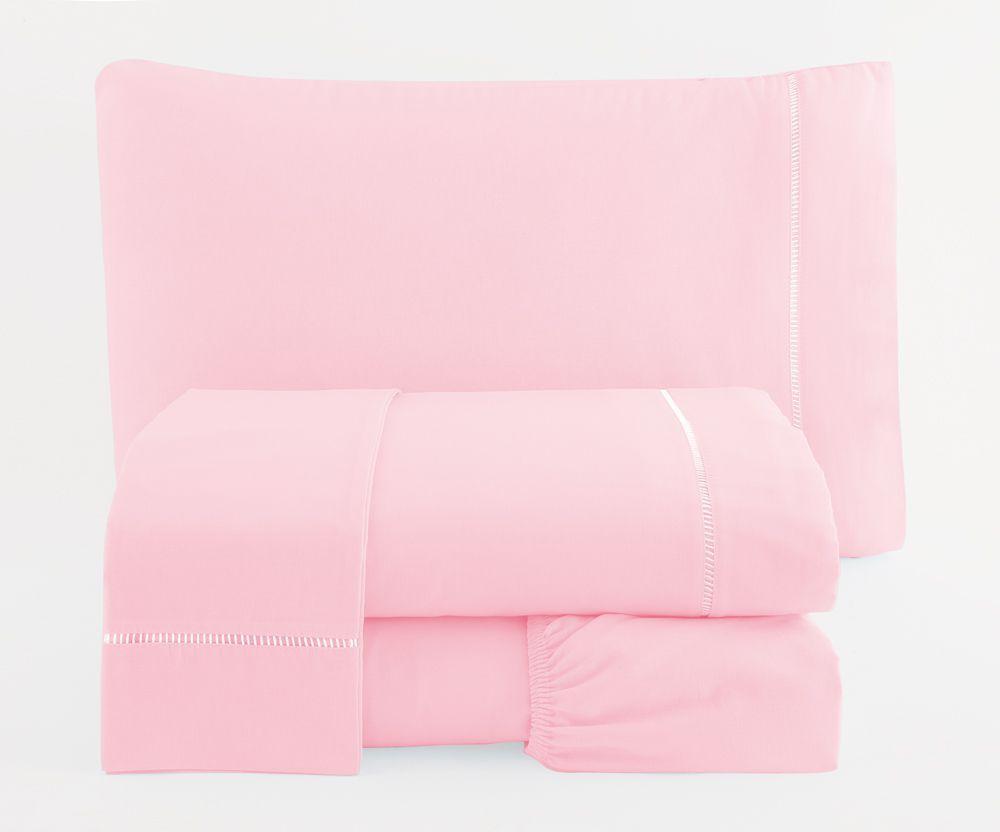 Jogo de Cama Casal Percal 150 fios 100% Algodão Ponto Palito 4 peças - Rosa