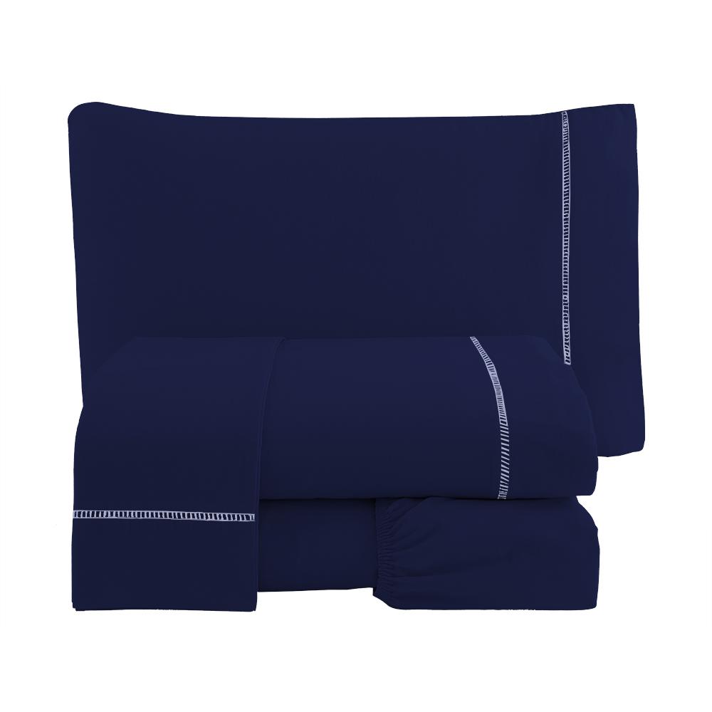 Jogo de Cama Casal Percal Misto 180 fios Ponto Palito 4 peças - Azul Marinho