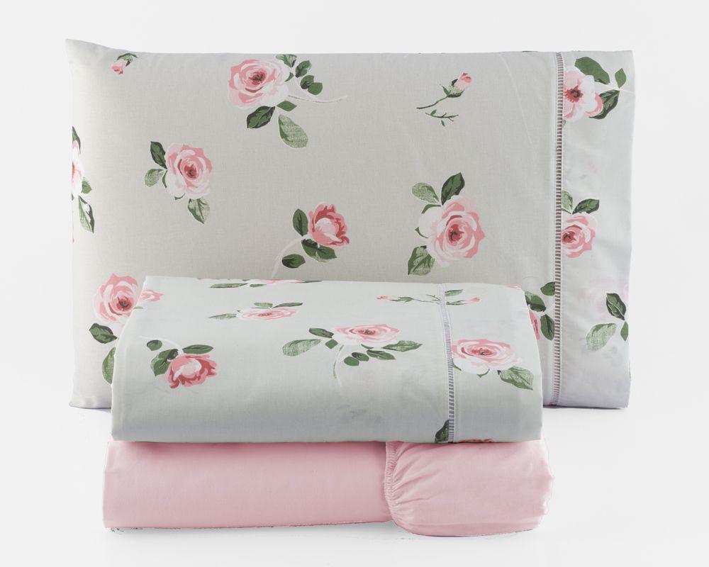 Jogo de Cama King Percal 150 fios 100% Algodão Ponto Palito 4 peças - Floral Rosa