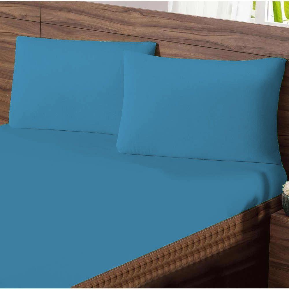 Jogo de Cama Queen em Malha Liso 100% Algodão 3 peças Liso - Azul