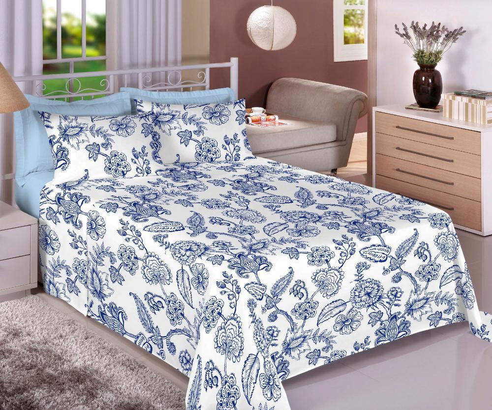 Jogo de Cama Queen Percal 150 fios 100% Algodão Ponto Palito 4 peças - Floral Azul