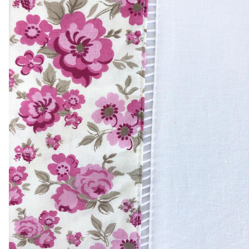 Jogo de Cama Queen Percal 150 fios 100% Algodão Ponto Palito 4 peças - Floral Pink/Branco
