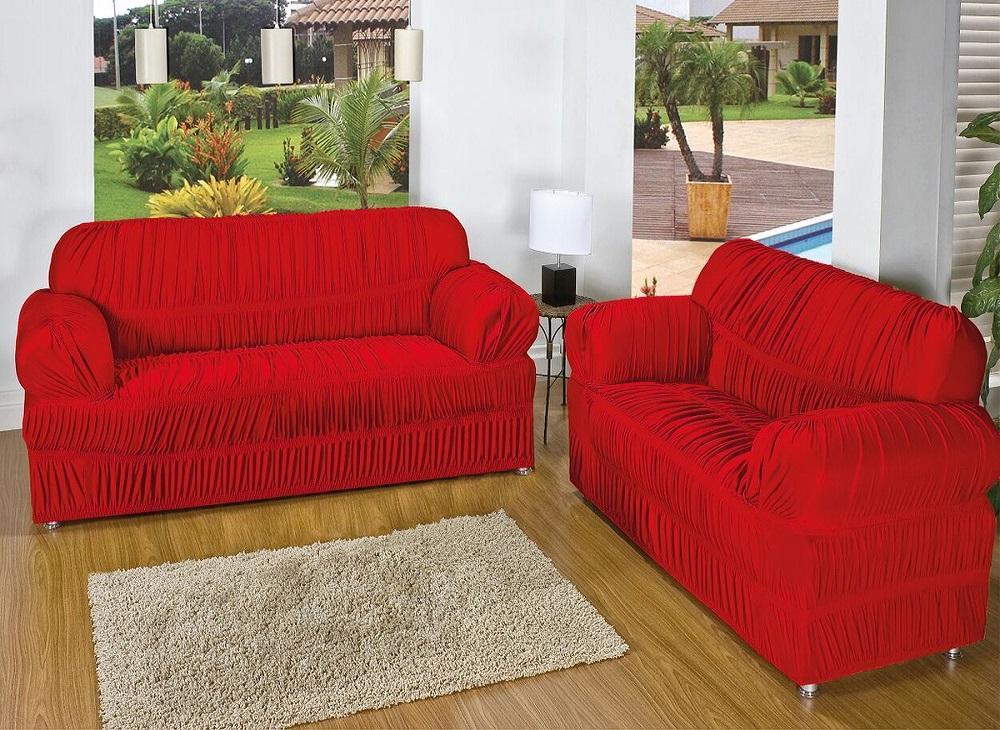 Kit Capa de Sofá  2 e 3 lug. 28 Elásticos - Vermelho