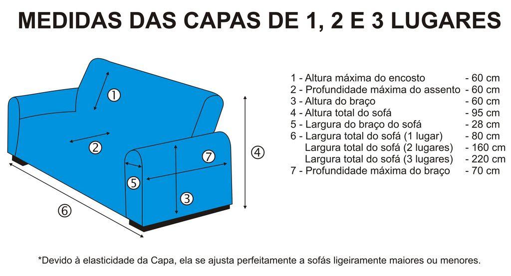 Kit Capa de Sofá 2 e 3 lugares em Malha Dupla - Preto