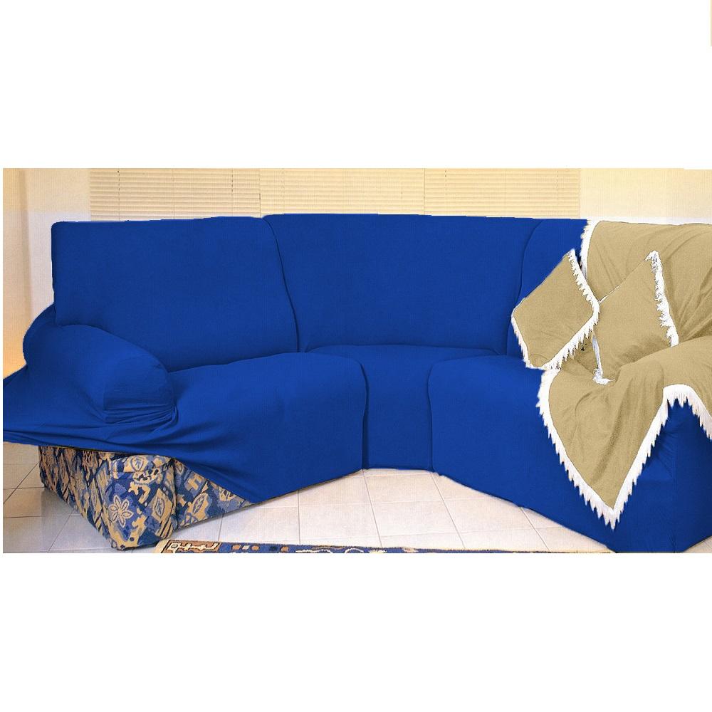 Kit Capa de Sofá de Canto - 2 esquerdo 3 direito - Azul Royal