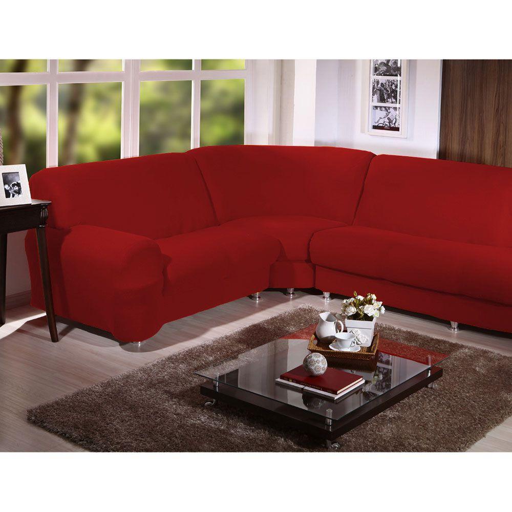 Kit Capa de Sofá de Canto - 3 esquerdo 2 direito com 2 braços - Vermelho