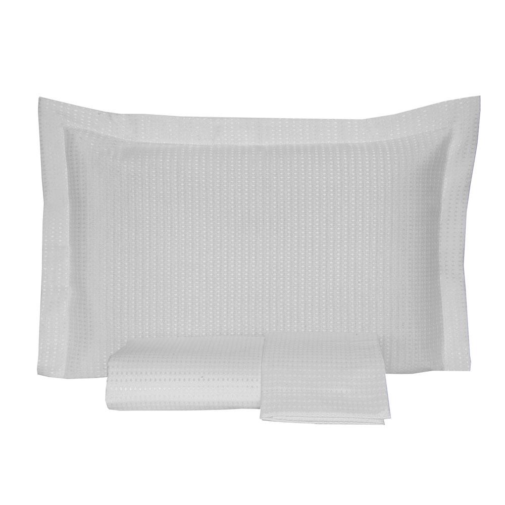 Kit Colcha Casal Piquet Lisa 2,10 x 2,40m com Porta Travesseiros - Branco