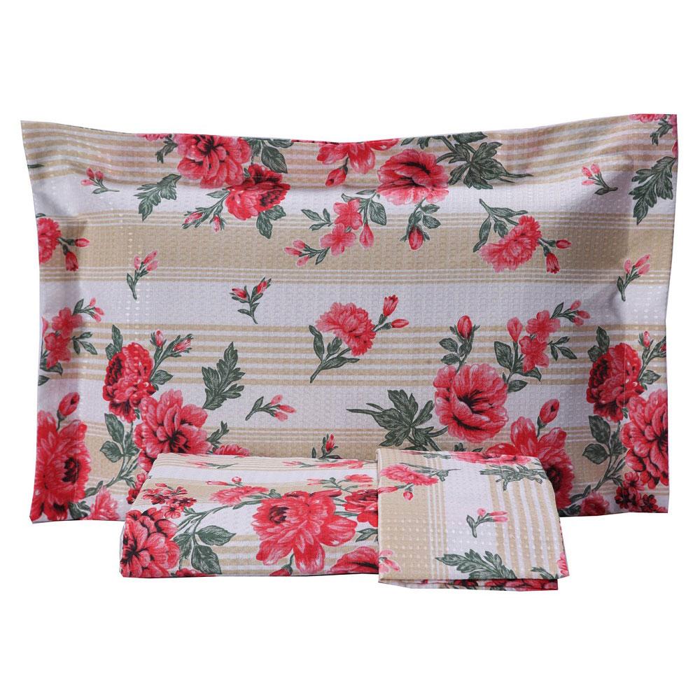 Kit Colcha Casal Piquet Estampada 2,10 x 2,40m com Porta Travesseiros - Floral Vermelho