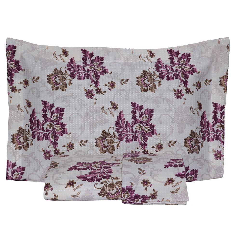 Kit Colcha Casal Piquet Estampada 2,10 x 2,40m com Porta Travesseiros - Floral Vinho