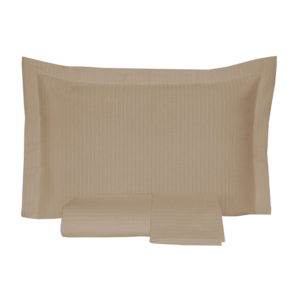 Kit Colcha Queen Piquet Lisa 2,50 x 2,40 com Porta Travesseiros - Bege