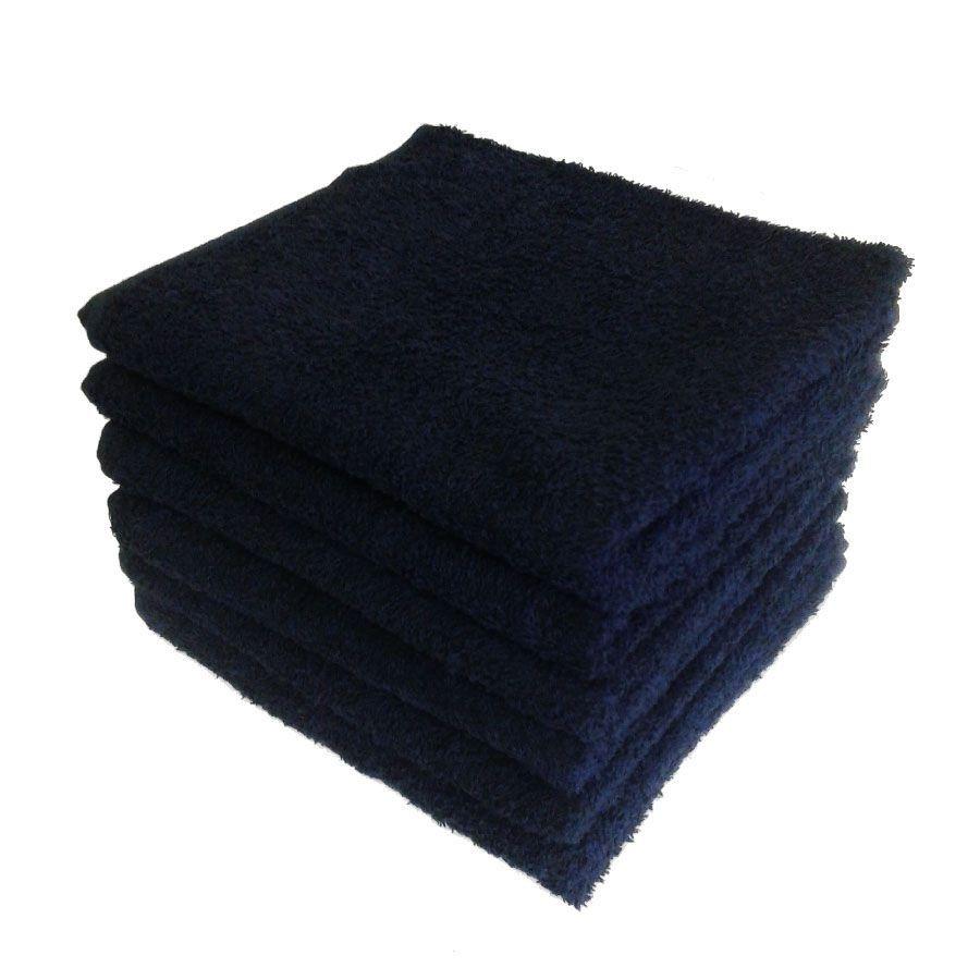 Kit Com 12 toalhas de Rosto para Salão 44 x 80cm -  Preto